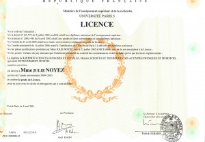 Diplome licence entrainement sportif Juliewp